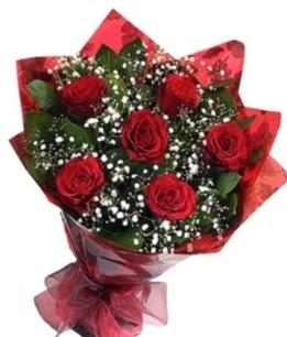 6 adet kırmızı gülden buket  Aydın incir çiçek yurtiçi ve yurtdışı çiçek siparişi