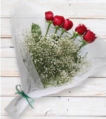 5 kırmızı gülden sade buket  Aydın incir çiçek çiçek yolla