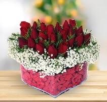 15 kırmızı gülden kalp mika çiçeği  Aydın incir çiçek çiçek satışı