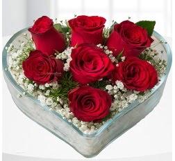 Kalp içerisinde 7 adet kırmızı gül  Aydın incir çiçek çiçek servisi , çiçekçi adresleri