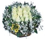 Aydın incir çiçek çiçekçiler  Beyaz harika bir gül sepeti