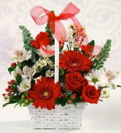 Karışık rengarenk mevsim çiçek sepeti  Aydın incir çiçek internetten çiçek siparişi