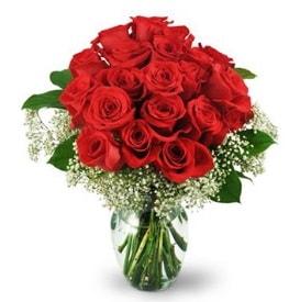 25 adet kırmızı gül cam vazoda  Aydın incir çiçek çiçek , çiçekçi , çiçekçilik