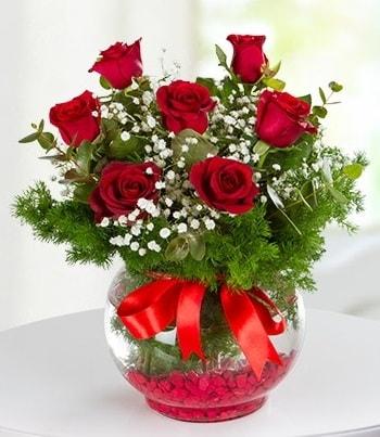 fanus Vazoda 7 Gül  Aydın incir çiçek çiçek , çiçekçi , çiçekçilik