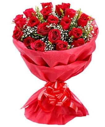 21 adet kırmızı gülden modern buket  Aydın incir çiçek çiçek gönderme