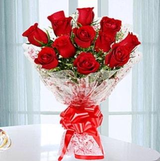 11 adet kırmızı gülden görsel şık buket  Aydın incir çiçek ucuz çiçek gönder