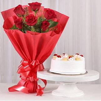 6 Kırmızı gül ve 4 kişilik yaş pasta  Aydın incir çiçek çiçek , çiçekçi , çiçekçilik