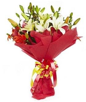 5 dal kazanlanka lilyum buketi  Aydın incir çiçek çiçek gönderme sitemiz güvenlidir