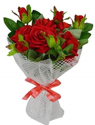9 adet kırmızı gülden sade şık buket  Aydın incir çiçek çiçekçi telefonları