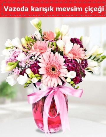 Vazoda karışık mevsim çiçeği  Aydın incir çiçek çiçek , çiçekçi , çiçekçilik