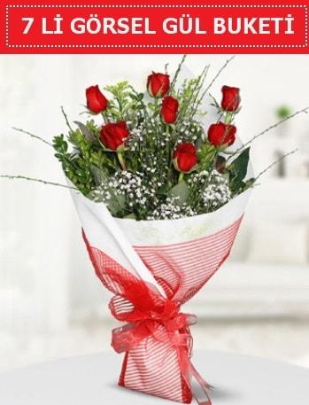 7 adet kırmızı gül buketi Aşk budur  Aydın incir çiçek çiçek satışı