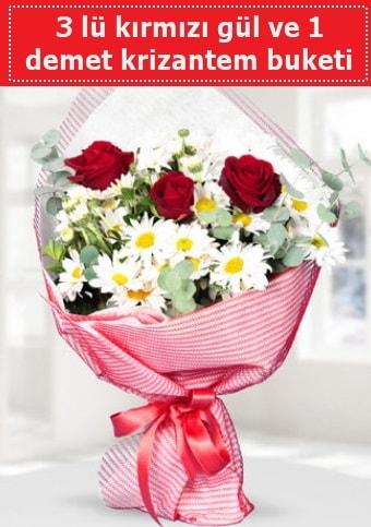 3 adet kırmızı gül ve krizantem buketi  Aydın incir çiçek çiçek gönderme sitemiz güvenlidir