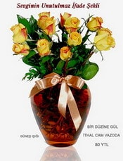 Aydın incir çiçek internetten çiçek satışı  mika yada Cam vazoda 12 adet sari gül